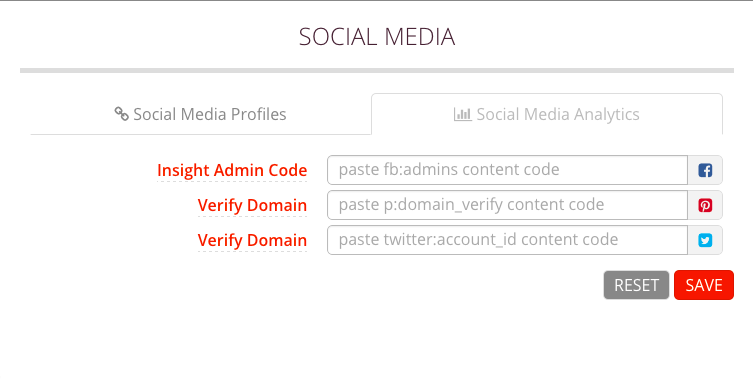 Social Analytics Submenu